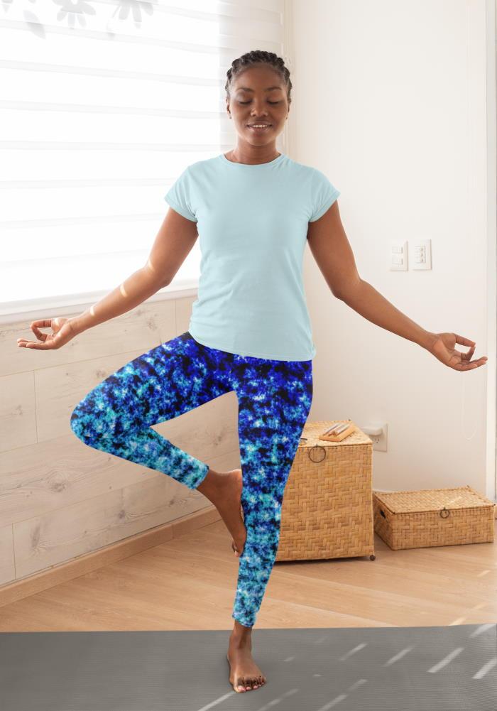 blue black color burn leggings