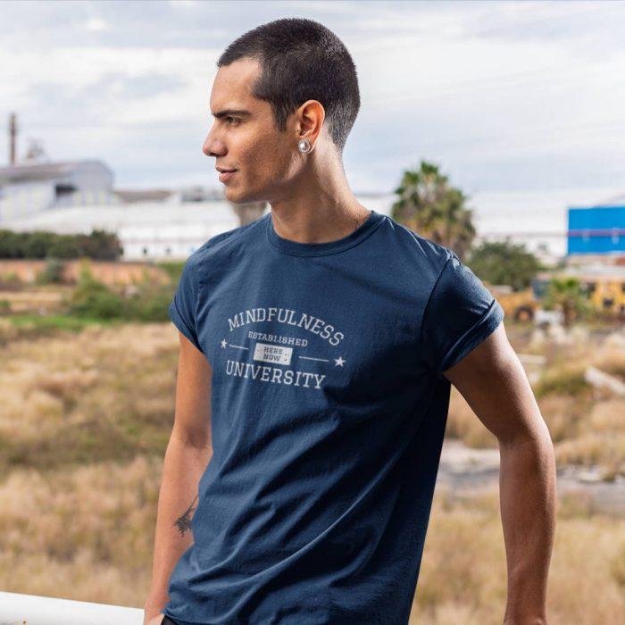 guy wearing mindfulness shirt