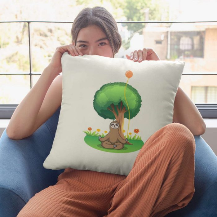 funny sloth doing mindfulness on pillow under a tree